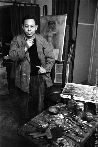 Zao Wou Ki Portrait with Nude Painting circa 1950. A rare portrait of Zao Wou Ki taken by Mark Shaw for Art News circa 1950. The source for this image was a rare vintage print.