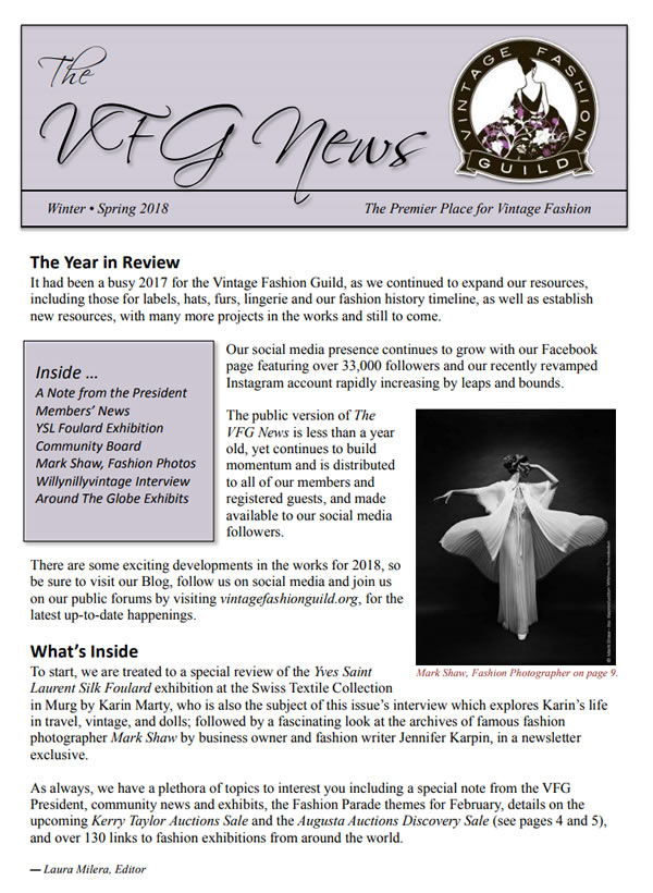 Vintage Fashion Guild Newsletter – Winter/Spring 2018