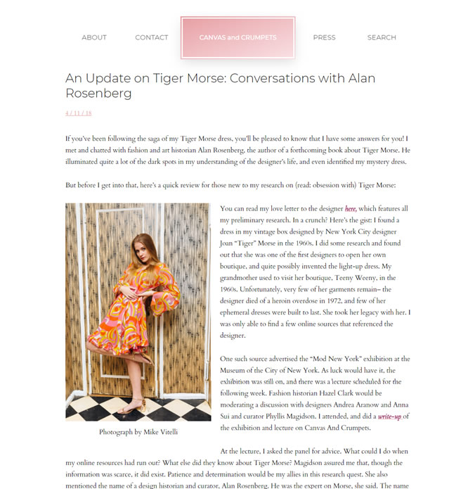 Canvas and Crumpets – Update on Tiger Morse: Conversations with Alan Rosenberg