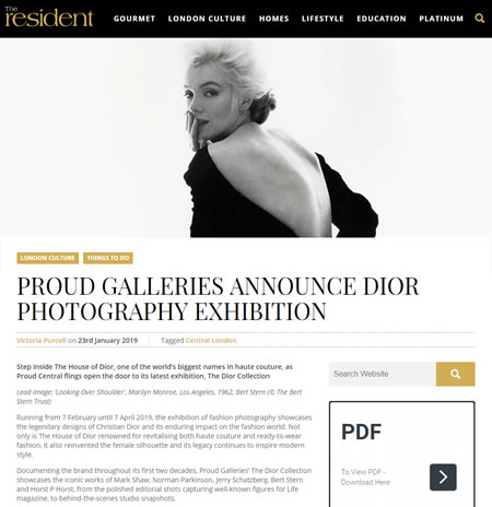 TheResident.com | Proud Galleries Announce Dior Photography Exhibition